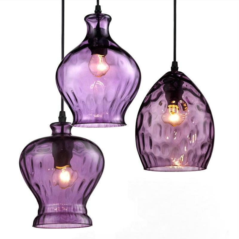 ФОТО Purple color glass nordic home pendant lamp dinning room coffee bar light home decoration lighting fixture
