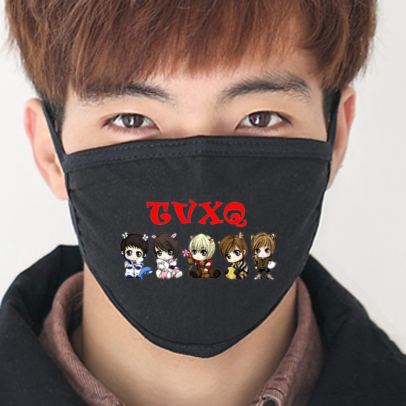 Korean celebrity kpop TVXQ TOHOSHINKI album U-KNOW Max K-pop Cotton Mouth-muffle Masques black Face Mask JYJ J-POP Masks R&B