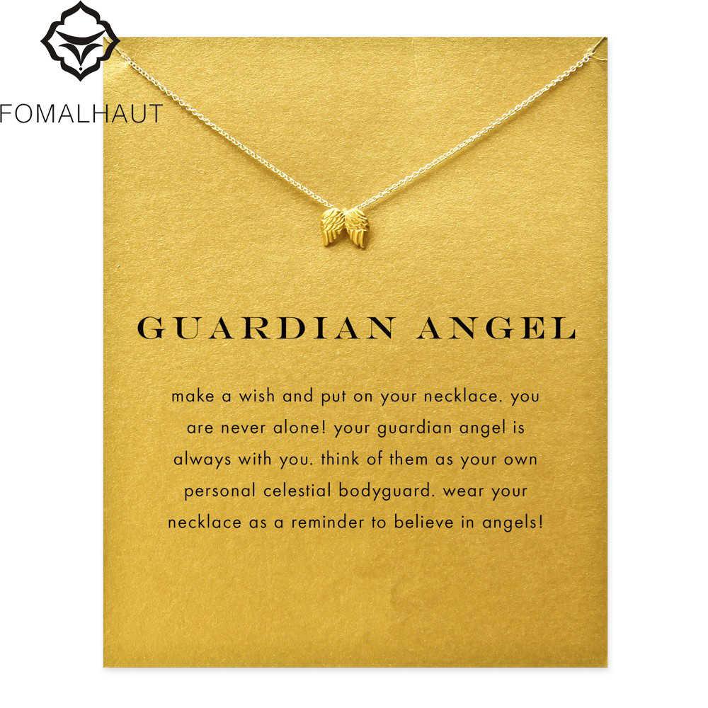 Venda quente anjo da guarda Pingente de anjo asas colar Clavícula Cadeias Declaração Colar Mulheres Jóias FOMALHAU F-3