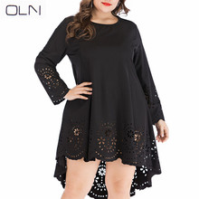 2XL-5XLOLN Dress Summer Korean version Vestidos OLN plus large size women's long-sleeved openwork dress openwork plus size lace dress