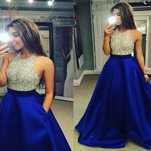 Royal Blue Evening Dress Beading Sequined Backless Sexy Hot Sale 2019 Halter Neck Satin Sleeveless Cheaper Formal Prom Gown