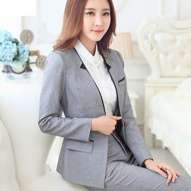 New Fashion Long sleeve women blazer pants set grey black business work wear formal uniform female office suits with pants