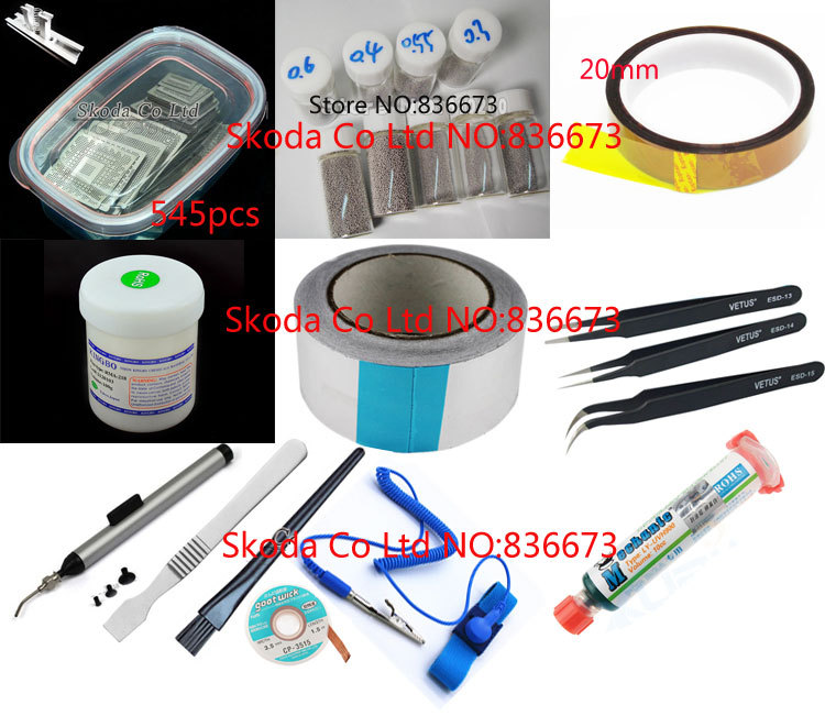 Free shipping 545 pcs Stencil BGA reballing kit Reballing station Directly Heating Stencils+solder balls+solder paste+tweezers++ 648pcs set direct heating bga stencil bga reballing stencil kit esd tweezers solder balls paste flux bga desoldering wire