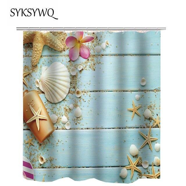 Vintage Blue Shower Curtain Star Fish Bath Curtain Flower Shell