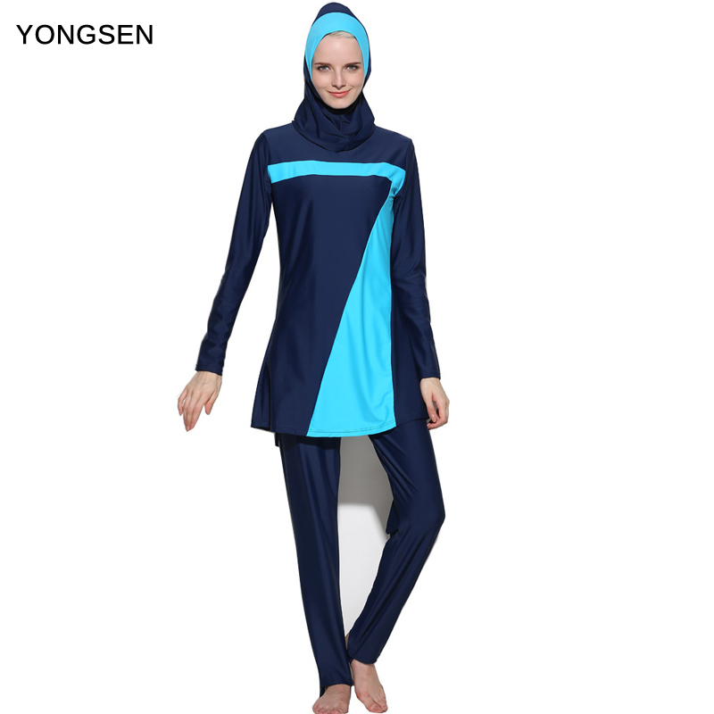 YONGSEN New Push Up long sleeve Burkinis Muslim Swimwear islamic swim wear For Women Plus Size Modest Hijab Musulman Swimsuit in Muslim Swimwear from Sports Entertainment