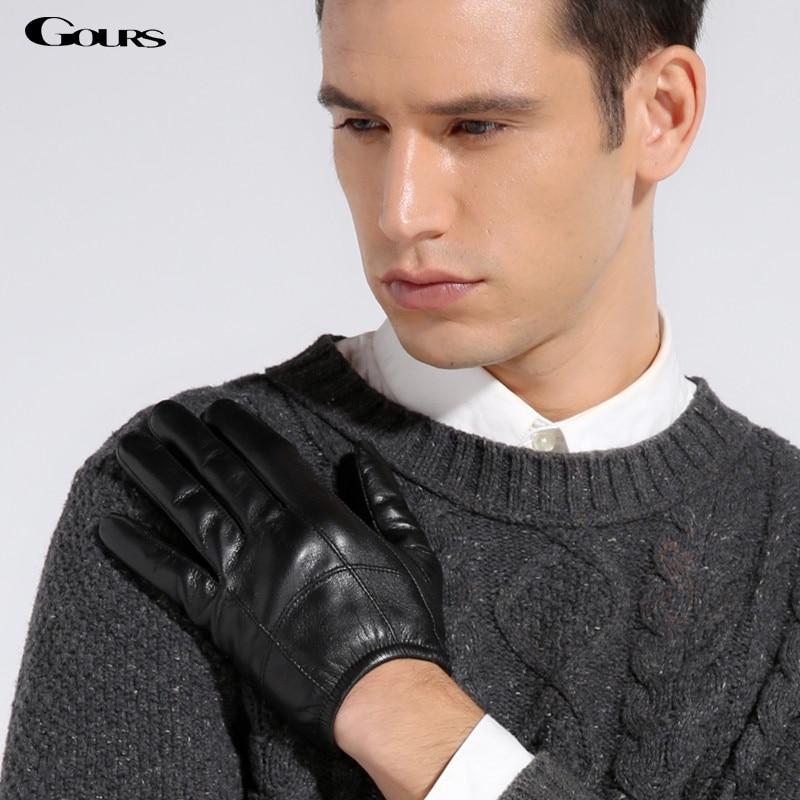 Gours Gloves 2018 Autumn Winter New Men Genuine Leather Gloves Goatskin Flexible Design Black Plus Velvet Warm Driving GSM010