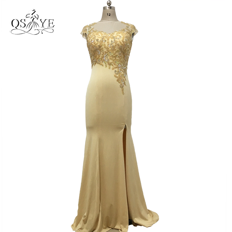 Elegant Champagne Long Mermaid Formal Evening Dresses 2017 Sheer O-Neck Beaded Appliques Floor Length Party Dress with High Slit
