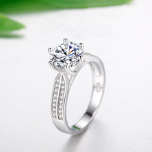 925 Sterling Silver Rings for Women Luxury 8mm Sona Cubic Zirconia Wedding Rings
