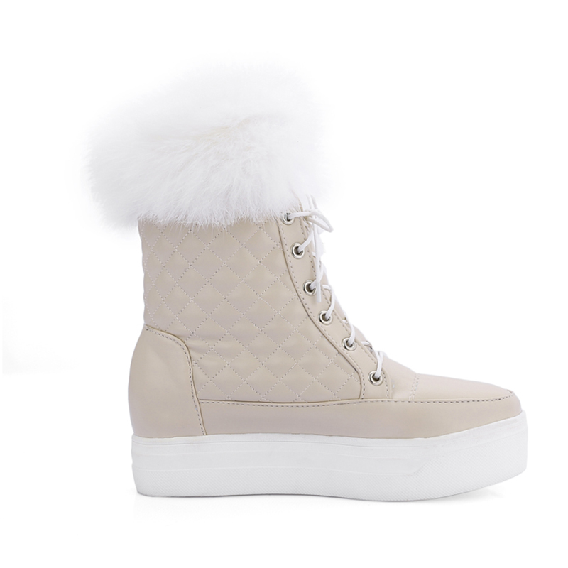 DoraTasia top quality size 34-43 platform waterproof mid calf boots leisure warm fur winter black white snow boots women shoes