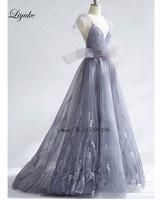 Liyuke Amazing Crepe V Neck A Line Evening Dress Unique Beading Embroidery Backless Floor Length Bow Elegant Long Formal Dress