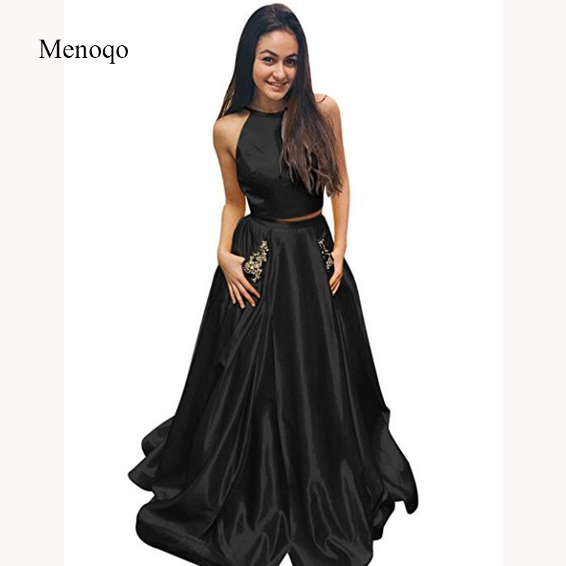 ebf3ef658d Simple Black or Yellow Two 2 Pieces Glamorous Sexy Halter Open Back Pocket  Party Wear Dress Custom Made Women s Prom Dresses