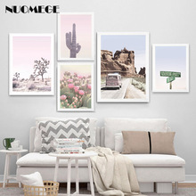 Boho Style Posters and Prints Bus Decor Desert Cactus Wall Art Adventure Digital Canvas Painting Apartment Pictures