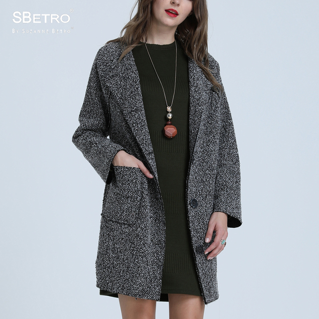 SBetro By Suzanne Betro Grey Navy Tweed CrewNeck Raglan Long Sleeve Boxy Unlined Coat Women Ladies Femme XXXL Plus Size