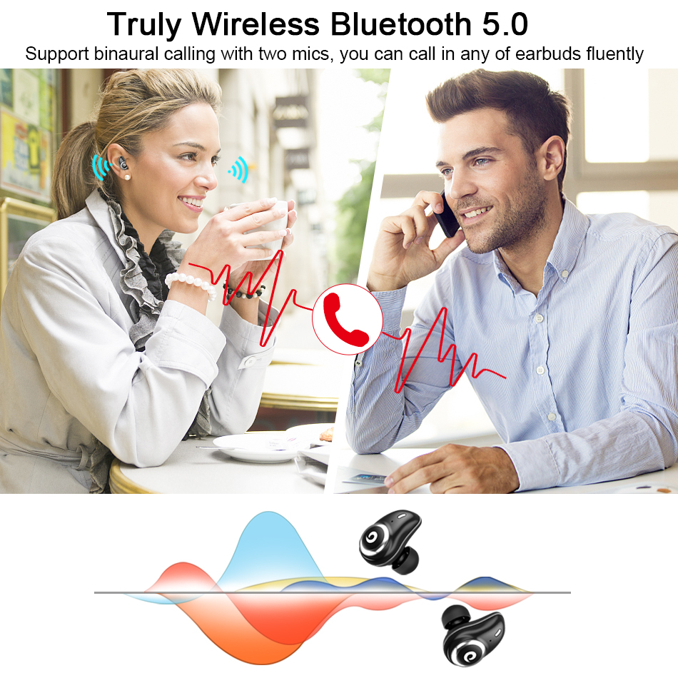 GUSGU TWS auricular Bluetooth inalámbrico auriculares V5.0 en la oreja del deporte auriculares con banco de potencia y micrófono manos libres - 4
