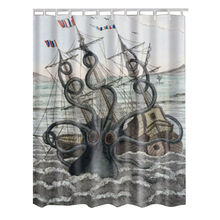 Fabric Waterproof Bathroom Shower Curtain Panel Sheer Decor With Hooks Set,Wavy octopus sailboat(China)