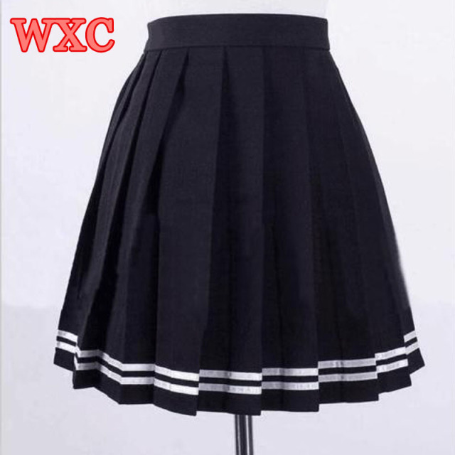 37af191d41 Japanese High Waist Pleated Skirts Anime Cosplay School Uniform JK Student  Girls Solid Pleated Skirt Girls