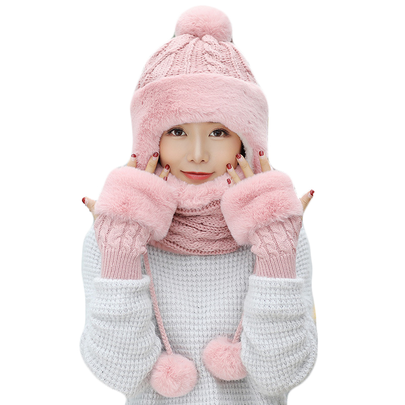 Woman Winter Thick Knitted Hat And Gloves Sets For Women Pus Velvet Warm Fashion Girls Pompoms Beanie Scarf Gloves 3 Pieces/Set