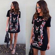 Ladies Summer Mini Dresses Women Work Wear Floral Print Sundress Round Neck Short Sleeve Office T-Shirt Dress Vestidos XL