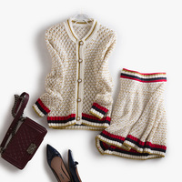 British Style Women Top Quality Long Sleeved Knitted Sweater Skirt Set 2017 Fall Winter New Arrival