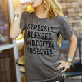 Women Ladies Soft Comfortable Pretty Letter Printed Short Sleeve Round Neck Loose Casual T Shirt Tops Tee