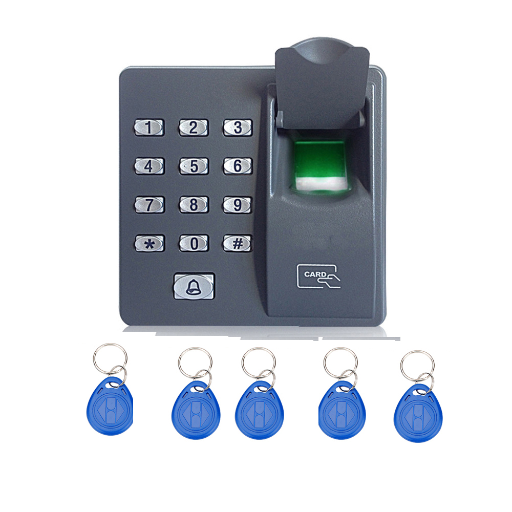 10pcs RFID keyfobs 125Khz RFID and Fingerprint Access Control Terminal with Keypad For door access control system biometric face and fingerprint access controller tcp ip zk multibio700 facial time attendance and door security control system