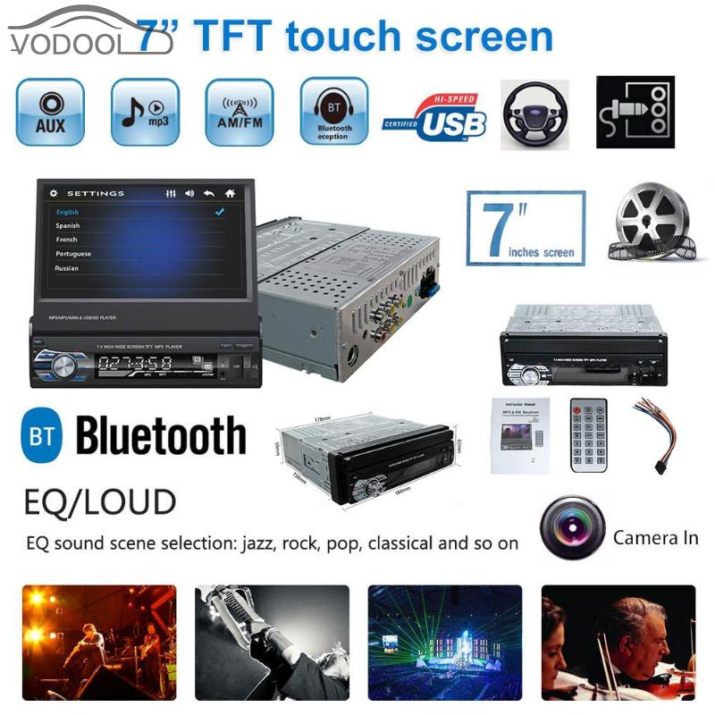 "7"" Retractable TFT Touch Screen 1 Din Car Stereo MP5 Video Player AUX Audio Player Bluetooth Handsfree A2DP FM Radio Autoradio"