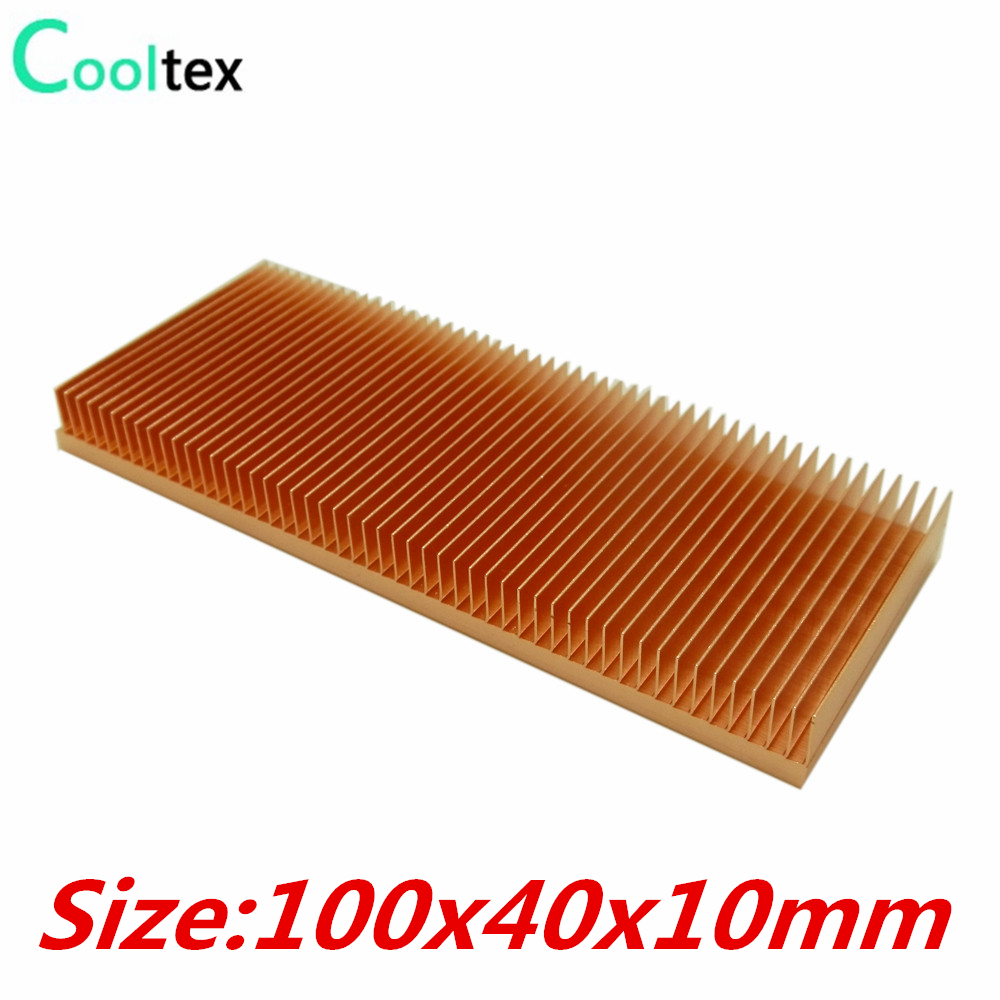 High Quality Pure Copper Heatsink 100x40x10mm Skiving Fin DIY Heat Sink Radiator For Electronic CHIP LED IC RAM Cooling Cooler high power pure copper heatsink 150x80x20mm skiving fin heat sink radiator for electronic chip led cooling cooler