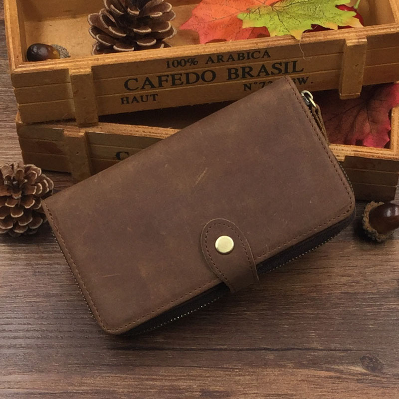 Vintage Men Wallets Brand 100% Genuine Crazy Horse Leather Purse Wallet High Quality Card Holder leather male clutch crazy horse leather billfolds wallet card holder leather card case for men 8056r 1
