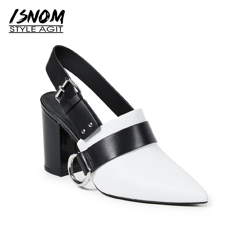 ISNOM Genuine Leather High Heels Sandals Women 2019 New Fashion Summer Office Female Shoes Pointed Toe