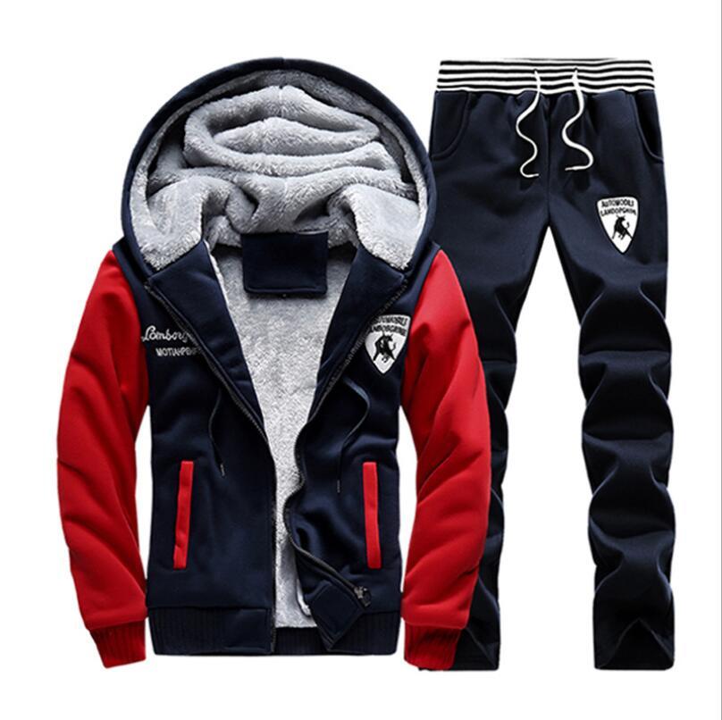 2019 nouveau PP35782 hommes ensemble mode hiver survêtements épais polaire doublé Hoodies sweat + pantalon survêtement hommes Sportswear - 2