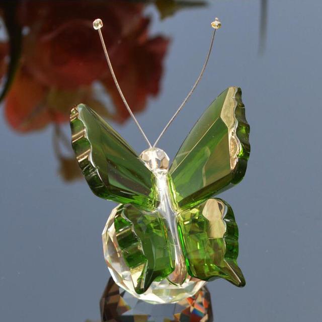 6 colores cristal Animal mariposa manualidades vidrio pisapapeles piedras naturales figuras decoración adornos hogar boda recuerdo regalos