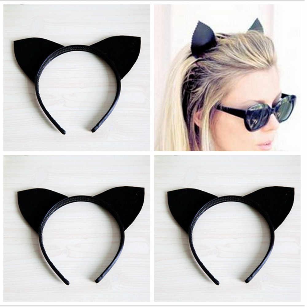 Сексуальные Черные кошачьи уши повязка на голову вечерние праздничные удобные эластичные тканевые обручи один размер z1027