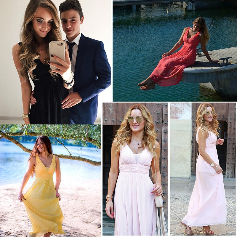 Formal   Evening     Dresses   Long Ever-Pretty EP08110 Sexy Lady Double V Neck Chiffon Pink   Evening   Gowns 2019 Wedding Guest   Dresses