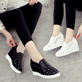 2016 New Slip On Women Casual Flat Shoes PU Ladies Loafers Flats Platform Rhinestone white black Color Womens Shoes
