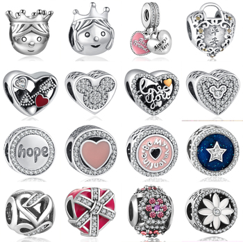 781e5842ef6a8 Yanxizao 925 الفضة شكل قلب الحب صالح باندورا سوار سحر الخرز diy سوار  المجوهرات هدية عيد