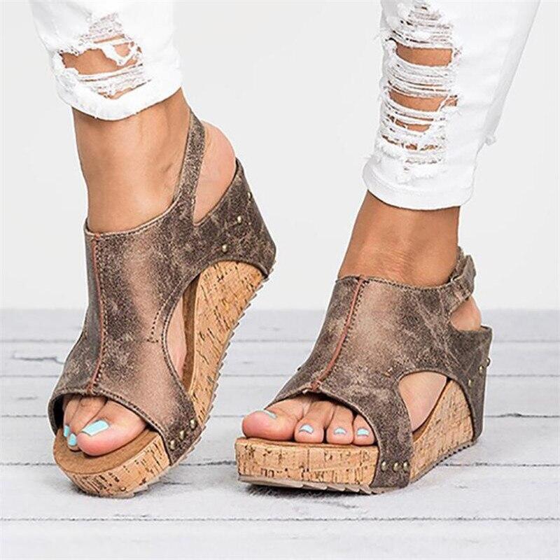 Cómodas Cuña Verano Moda Gladiador Sandalias Tacón De Romano Zapatos Mujer drCxeBo