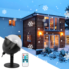 Snowflake Lights Outdoor LED Projector Lamp Waterproof Moving Snowfall Light with Remote Control for Christmas Party Decorative
