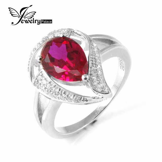 High Quality 2.7ct Pigeon Blood Created Ruby Ring For Women Pure Solid 925 Sterling Silver Wedding Charms Gift Ruby Jewelry Ring