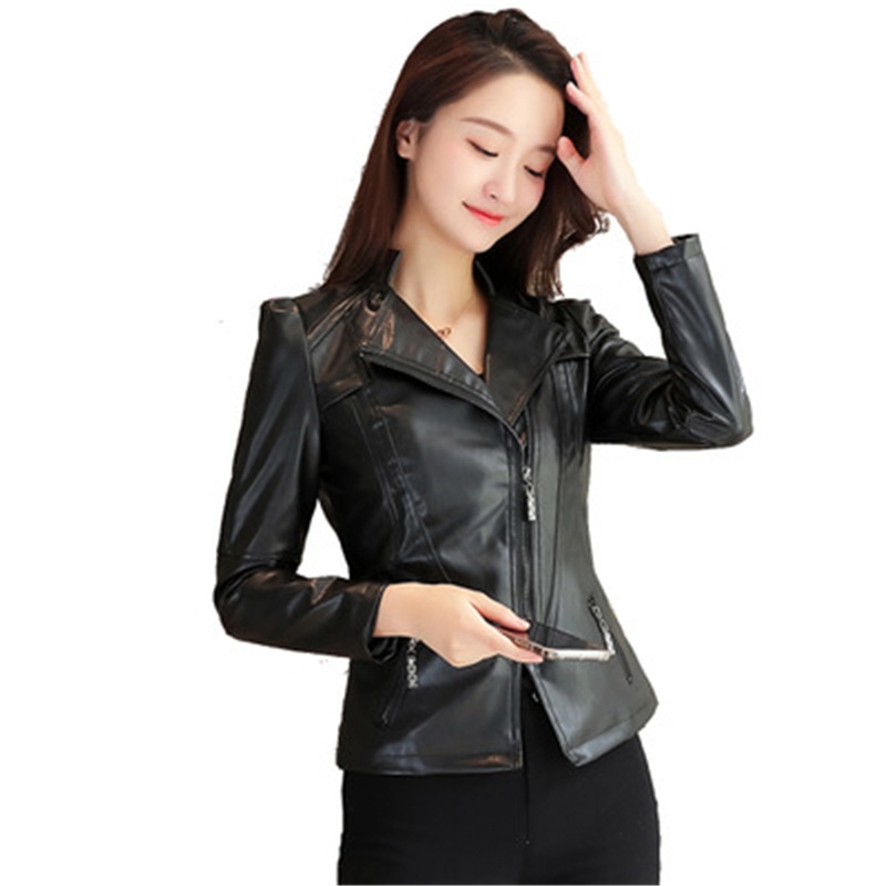 2018 New Fashion Women Autunm Winter Wine Black Faux   Leather   Jackets Lady Moto Byker Cool Slim Outerwear Zipper Female Coat J689
