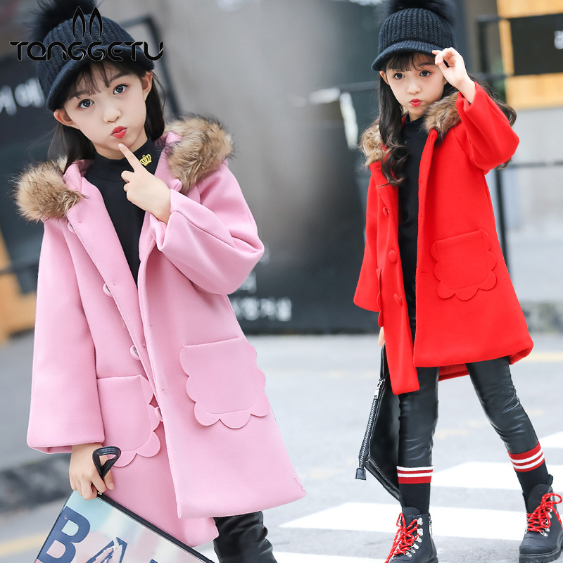 2018 Winter New Children Real Rabbit Fur Coat Kids Girls Warm Solid Natural Raccoon fur collar Coat Outerwear jacket children real crystal fox fur coat 2018 new autumn winter girls boys natural fur coat clothing warm kids thicken jacket
