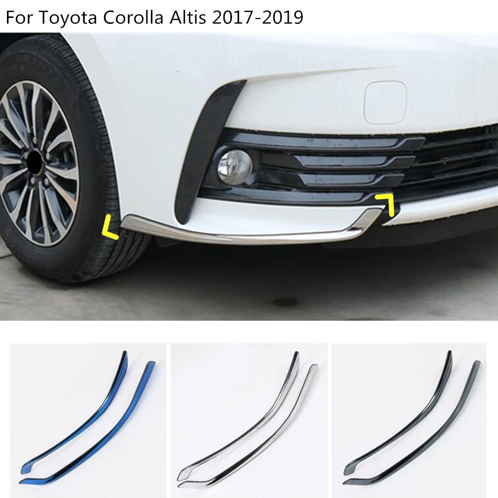 Car front head side bumper corner protection trim frame styling Stainless Steel 2pcs For Toyota Corolla Altis 2017 2018 2019