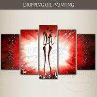 Unframed Hand painted High Quality Abstract Lover Oil Painting 5 Pieces Panels Canvas Art Painting Abstract Lover Oil Painting