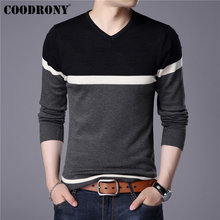 COODRONY 2019 Spring Autumn Cotton Sweater Men Knitwear Shirt Mens Cashmere Sweaters Pull Homme Casual V-Neck Pullover 91014