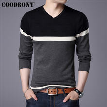 COODRONY 2019 Spring Autumn Cotton Sweater Men Knitwear Shirt Mens Cashmere Sweaters Pull Homme Casual V-Neck Pullover Men 91014(China)