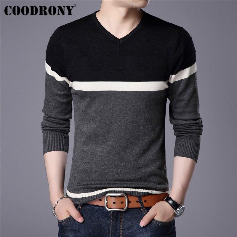 Coodrony 2019 primavera outono camisola de algodão masculino malhas camisa dos homens camisolas de caxemira pull homme casual com decote em v pulôver masculino 91014