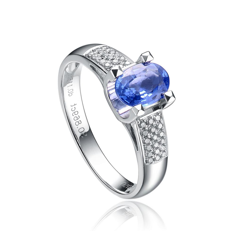 08 Ct Sapphire 18k White Gold Natural Diamond Luxury Classic Elegant Women  Ring Special Gift For