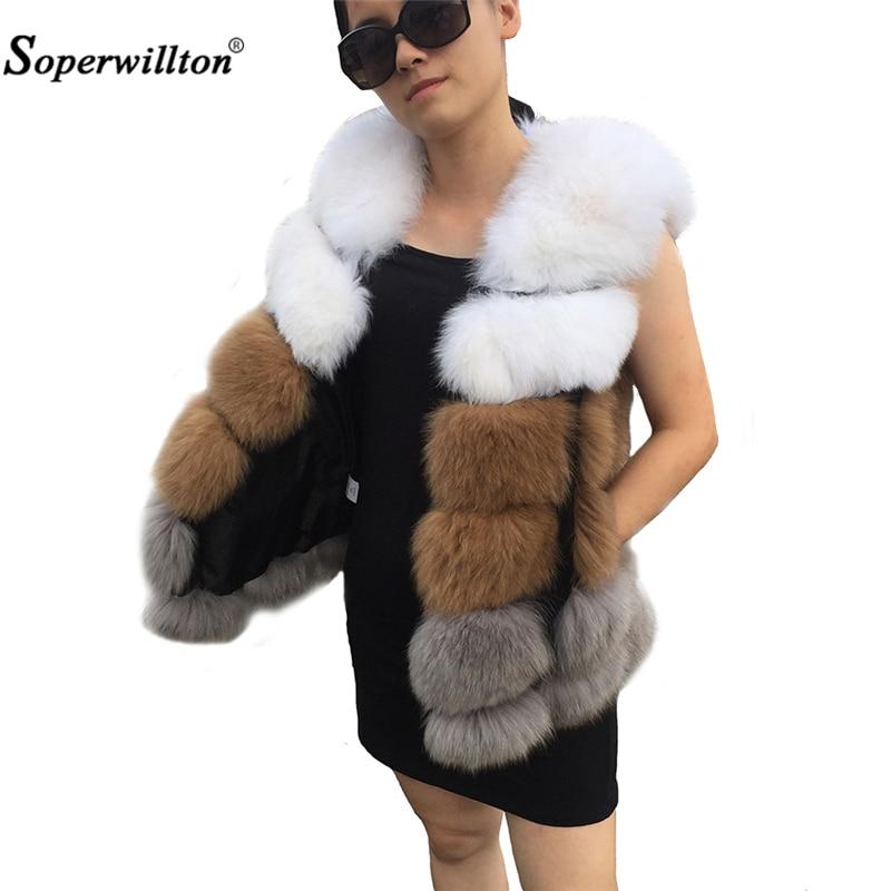 Real Fox Fur Vest 3 Colors Patchwork White Fox Fur Coat Winter Warm Fur Jackets for
