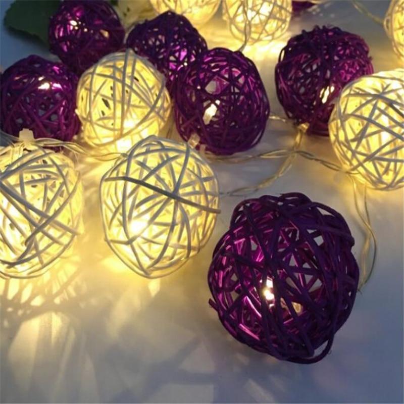 20 p/set LED Branco Roxo Rattan BOLA LEVOU Luzes De Fadas String Natal Guirlandas lumineuse Casa Pátio Decorações de Casamento Romântico
