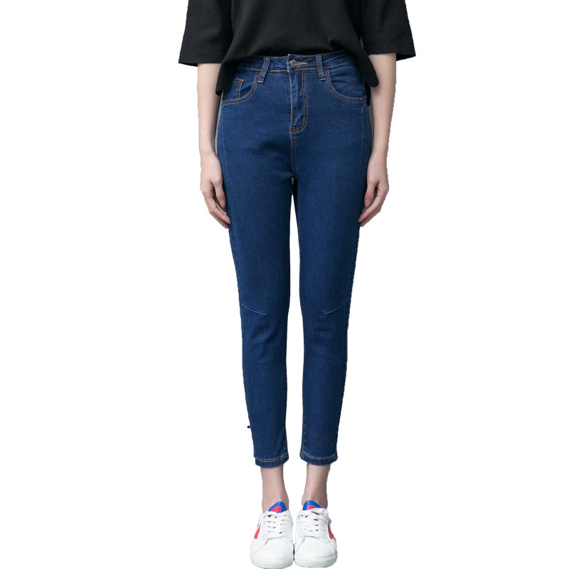 Autumn New Korean Edition Lady Tight Body  Elastic Radish Pants Hole, Cowboy, Small Foot Pencil Trousers