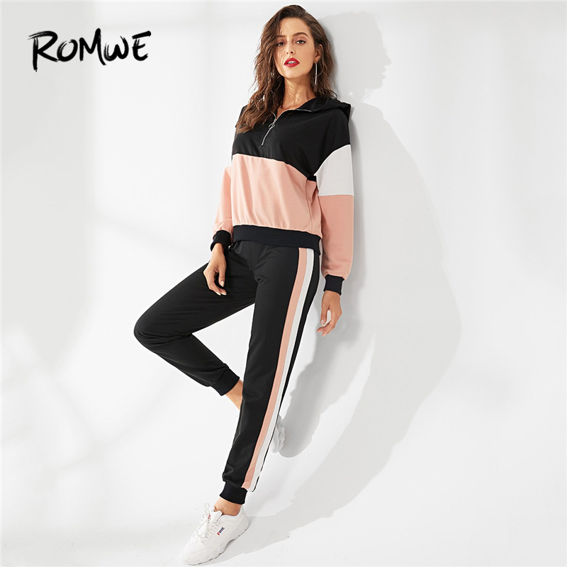 ROMWE Zipper Up Hoodie And Color Block Sweatpants Set Women Casual Clothes  Autumn Fashion Clothing Two Piece Female Outfits